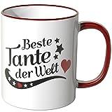 WANDKINGS Tasse, Spruch Tante der Welt - ROT
