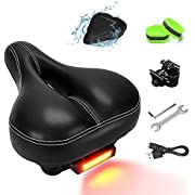 NANAPLUMS Bike-Seat-Cushion for Men/Women, Memory Foam Padded Leather Wide Bicycle Seats Bike-Saddle with Taillight, Water & Dust Resistant Cover, 2 Reflective Bands and Installation Tools