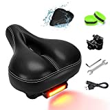 NANAPLUMS Bike-Seat-Cushion for Men/Women, Memory Foam Padded Leather Wide Bicycle Seats Bike-Saddle