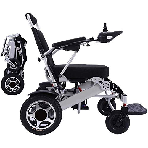 AIRPUMP Rollstuhl Faltbar Leicht, Tragfähigkeit 150 Kg, Tragbare Elektrorollstuhl 360 ° Joystick Lithiumbatterie Elektro Mobilitätshilfe Elektrischer Rollstuhl Für Ältere Und Behinderte Menschen