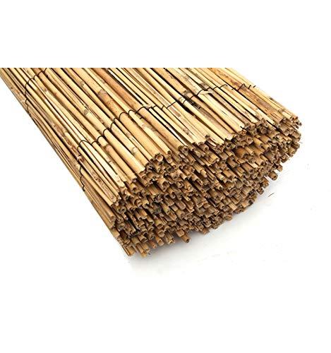 Bonerva Cerramiento para terrazas de bambú Media caña | Cerramiento de jardín | Cañizo Natural bambú (1 x 5 m)