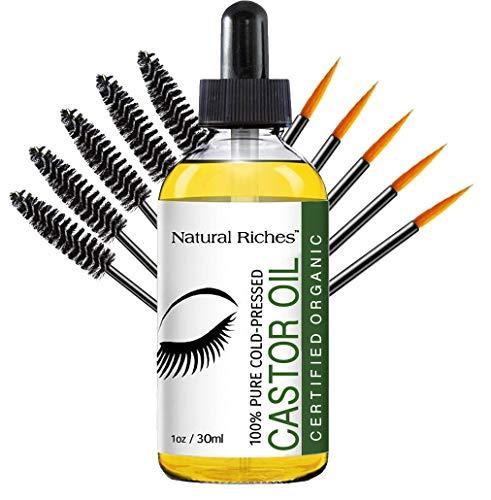 Natural Riches Eyelash Growth Serum, Pure Organic Cold Pressed Castor Oil, Promotes Eyebrows & Eyelash Growth - 1 fl oz