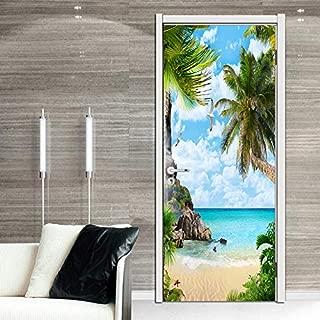 FLFK 3D Palm Tree Beach Door Stickers Wall Murals Wallpaper Vinyl Removable Home Decoration 30.3