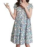 Pingtr - Damen Maternity Kleid Kurzarm,Maternity Kleid - Umstandskleid O-Ausschnitt Blumendruck Kurzarm schwangeres Kleid