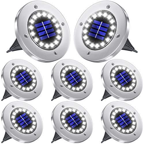 Biling Luci solari da Terra,luci solari da Giardino a Disco per Esterni,16 LED da Incasso a Terra per Esterni,luci per percorsi solari Impermeabili IP65 per Patio,Giardino,cortile-8pezzi (Bianco)
