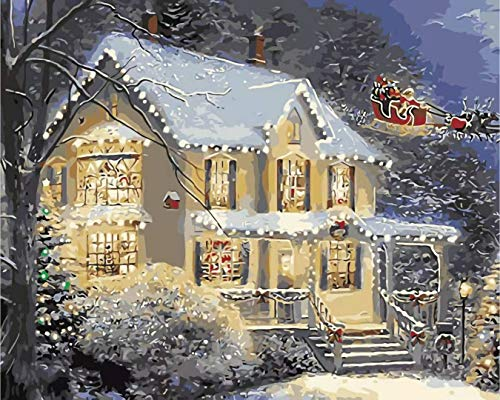 DIY Paint by Number for Adults 16 x 20 inch Canvas Oil Painting with Numbers Kids Beginners,Easy Acrylic on Canvas with Paints and Brushes- Snow Scenery (Without Frame) (16 x 20, Christmas Cottage)