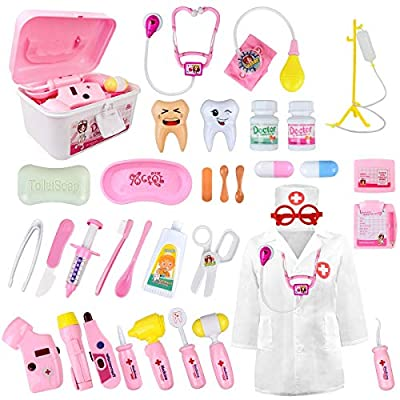 LOYO Medical Kit for Kids - 35 Pieces Doctor Pretend Play Equipment, Dentist Kit for Kids, Doctor Play Set with Gift Case (Pink) from Funplus