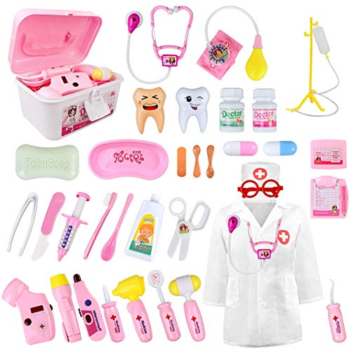LOYO Medical Kit for Kids - 35 Pieces Doctor Pretend Play Equipment, Dentist Kit for Kids, Doctor Play Set with Gift Case (Pink)