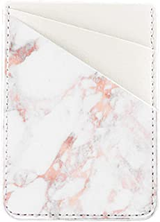 Phone Card Holder Stick Back of Phone uCOLOR PU Leather Wallet Pocket Credit Card ID Case Pouch Sleeves 3M Adhesive Sticker on iPhone Samsung Galaxy Android Smartphones(Rose Pink Marble)