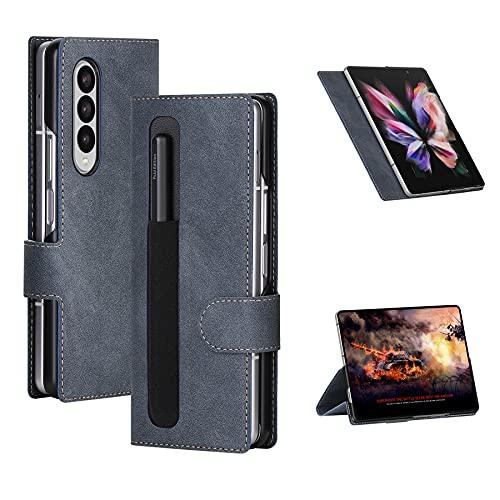 Cresee Hülle für Samsung Galaxy Z Fold 3 5G, mit Stifthalter für S Pen Fold Edition, Flip Hülle Stand Magnetverschluss Handyhülle Schutzhülle Tasche Cover Stoßfest Klapphülle für Z Fold3 2021, Blau