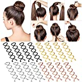 16 Pieces Spiral Cute Hair Pins Metal Mini Spin Pins Hair Clip Spin Screw Twist Insert Hairpins Bun Stick Pick for Women Girl Diy Hair Tool Hair Accessories, Black, Gold, Rose Gold and Silver