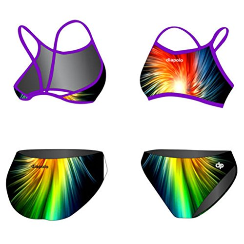 Diapolo Rainbow Fractal Professioneller Bikini Zweiteilige Strandkleidung Bademode Damen Badeanzug für Frauen Mädchen Teenager Strandmode ohne Bügel S M L XL XXL (M)
