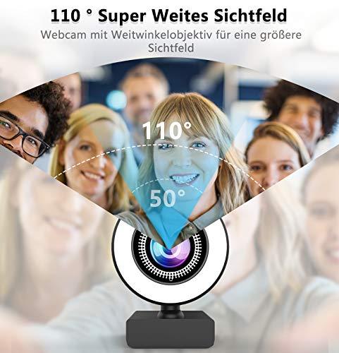 OVIFM 2K Webcam mit Mikrofon und Ringlicht Full HD Web Cam für PC, Laptop, Mac, USB Webcam Streaming mit Autofokus und Weitwinkel für YouTube, Skype Videoanrufe, Lernen, Videokonferenz, Spielen