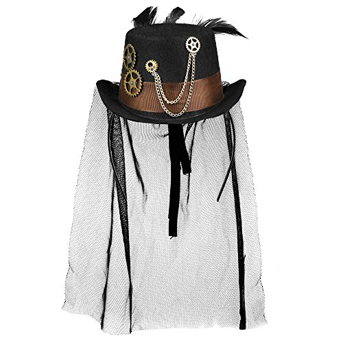 This is a miniature cap with tulle veil in cylinder shape. It is made of black felt and is 100% polyester. The hat is finished with a brown satin hat band and decorated with gears. The decorated feathers do not contain any parts of animal origin. Thi...