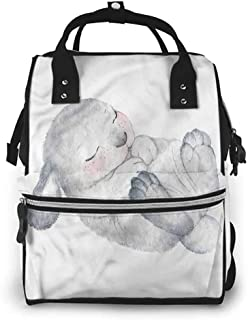 Diaper Bag Backpack Nappy Changing Pad, Rabbit Cute Little Bunny Sleeping, Large Capacity, Waterproof and Stylish