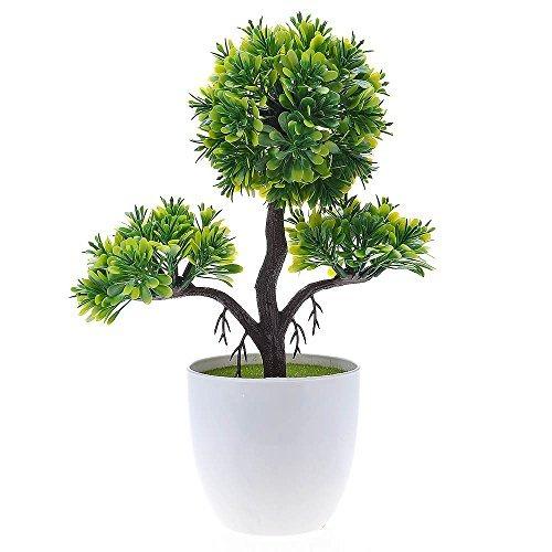 HuaYang Mini pin de Bienvenue - Topiary Mini Arbre Artificielles avec Pot en Mélamine pour Décoration Ornement (Vert)