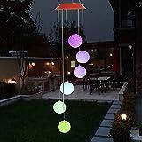 Galapara Solar LED Windspiel, Farbwechsel Solar Windspiel Sechs Bälle Mobile Romantic Wind-Bell Outdoor LED Hängende Nachtlichte für Outdoor Party, Garten-Dekoration