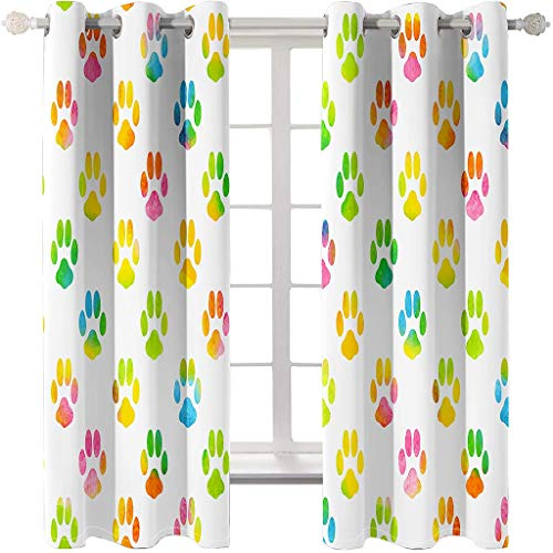 Generic Branded Cortinas Aislantes Térmicas - con Ojales, Huellas de Patas Multicolores Impresión 3D Reducir el Ruido y Aislantes Térmicas Decoración del hogar para salón y Dormitorio 2X(75x170) cm,