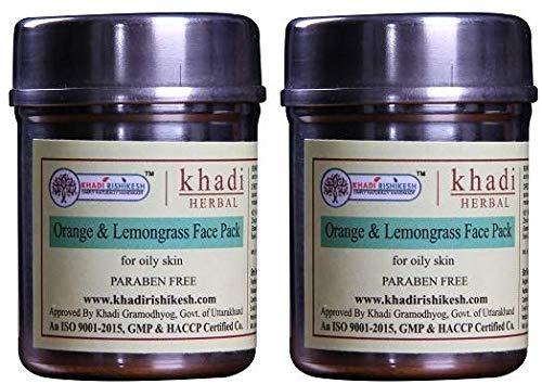 Glamorous Hub Khadi Rishikesh Herbal Orange & Lemongrass Face Pack Combo Set Paquete de 50G X 2 (100Gm) (El embalaje puede variar)
