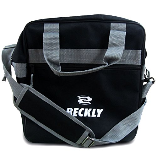 Beckly Super Bowling Tote -Bowling Bag- Fits Your Bowling Ball and Bowling Shoes- Single Bowling Ball Tote- Front Zippered Pocket and inside Shoe Sleeves-Carry and Shoulder Straps-For your Home Bowling Alley or At the Professional Arena- Perfect Bowling equipment- Great Holiday gift For bowling pro or rookie- Made from the Highest Quality Material and Superior craftsmanship- Superior quality bowling ball sports bag- Backed by the Famous Beckly money Back Guarantee!, Black
