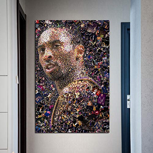 BailongXiao Porträt des berühmten Basketballstars gemalt auf Leinwand und Plakat für Wohnzimmer Wohnkultur,Rahmenlose Malerei,60x90cm