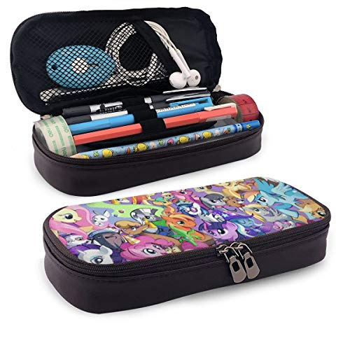My Little Pony Leather Pencil Case Pen Case Pouch Holder Stationery Cosmetic Makeup Double Zipper Bag for Adults Girls Boys School Office