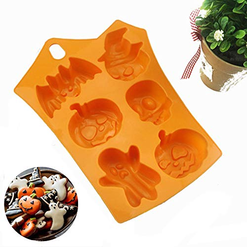 Halloween Silicone Baking Molds Nonstick Cake Pan with Halloween Pumpkin Ghost Evil Skull- Perfect to Make Pudding, Ice Cube, Chocolate, Cupcakes, Lilopp 1 Pack