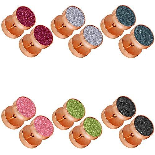 tumundo Set de 6 Piezas / 1 Pieza Pendientes Falso Piercing Fake Plug Acero Tunnel Túnel Tramposo Joyas Dilatador Oreja, color:rosé - Alle Farben/rosé - all colors