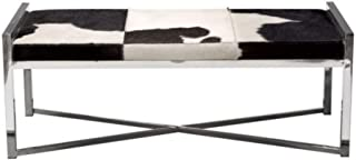 Benjara Rectangular Steel Frame Bench with Hair On Hide Fabric Upholstered Seat, Multicolor
