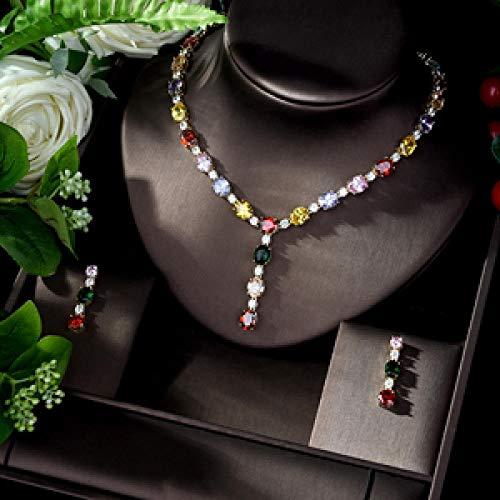 AMINIY Juego de joyería Nupcial de circonia cúbica para Mujeres Pendientes de Regalo y Juegos Colgantes (Color : A)