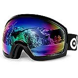 Odoland Lunettes de Ski Masque de Snowboard pour Homme & Femme Anti-UV400, Anti-Buée, Coupe-Vent, Lunettes de Protection avec Grande Lentille OTG Sphérique