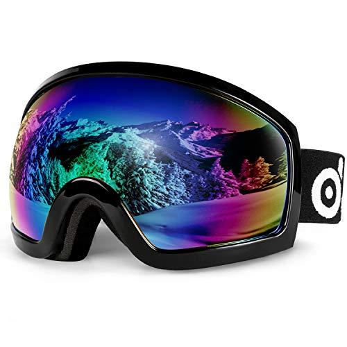 Odoland Skibrille, Ski Snowboard Brille Brillenträger Schibrille OTG UV-Schutz Kompatibler Helm Snowmobile Damen Herren Kinder für Skifahren VLT 18{cbbc38f7d0dce15d12eb2b2b2947e7be531c5b190dadec34846709cd6000fc05} Schwarz + Grün(Schwarzer Rahmen)