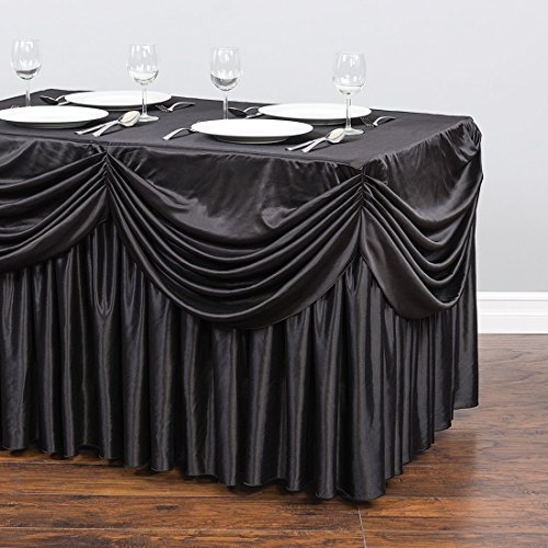 4 ft. Drape Chiffon All-in-1 Tablecloth/Pleated Skirt Black