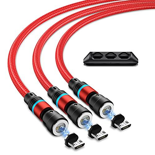 Micro USB Magnetisches Ladekabel mit Schnellladung, JEEREE 3A-Schnelllade-und Datenübertragungs-Magnet Ladekabel [3Stück 0.5m+1m+2m] 360°&180° Rotierendes Magnet USB Kabel für Smartphone - Rot