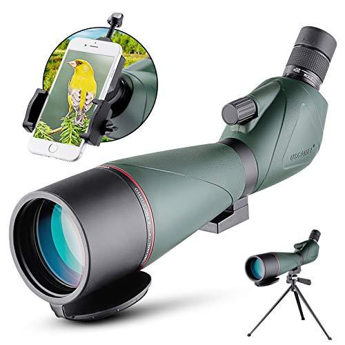 20-60x80mm Cannocchiale Professionale con treppiede Impermeabile Telescopio borsa per il trasporto e adattatore per smartphone per tiro al bersaglio Birdwatching USCAMEL