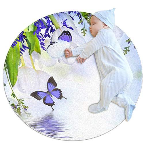 LKJDF Estera de juego, alfombra de gatear alfombra con aire acondicionado, dormitorio infantil para niños, mariposa púrpura