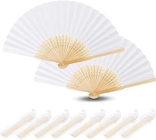 Nswiem 20 Piezas Abanico Blanco de Boda Abanicos Plegable Blanco Abanico Plegable de Mano Tela Abanico de tela Bambú Ventilador para DIY Decoración Fiesta Boda Regalo