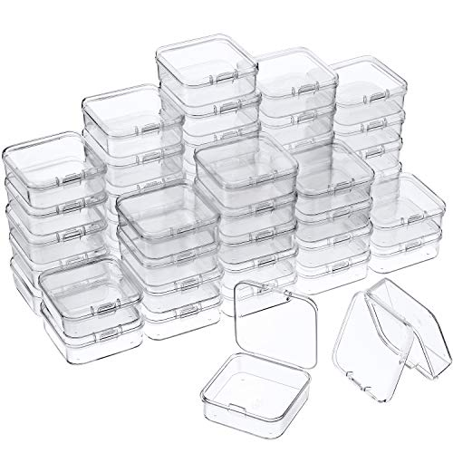 48 Packs Clear Small Plastic Containers Transparent Storage Box with Hinged Lid for Small Items Crafts Jewelry (2.12 x 2.12 x 0.79 Inches)