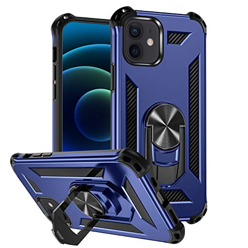 "Mastten Phone Case Compatible with iPhone 12/iPhone 12 Pro 6.1"" 2020, 2-in-1 Layer Shock-Absorption Protective Case with Magnetic Car Mount Ring Kickstand, Navy Blue"