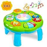 HERSITY Table d'activités Piano Tambourin Jouet Musical Jeux Éducatifs Cadeau pour Bébé Garçons Filles