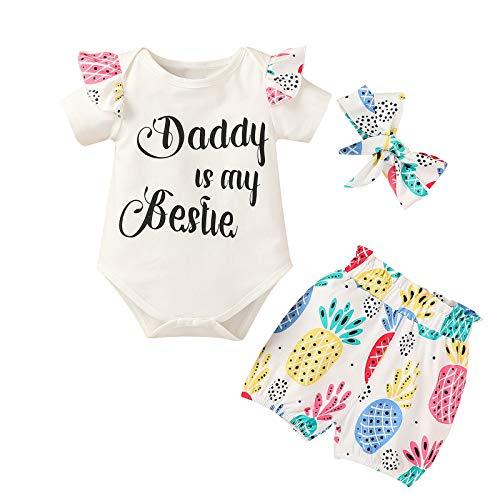 2021 Noworodki niemowlę dziewczynka lato śpioszki z literą + kwieciste szorty + opaski na głowę stroje
