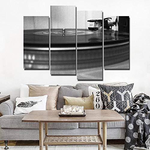 NAID muur canvas kunst muziek cd opname schilderen wooncultuur 4 panelen zwart en wit dj speler wandafbeeldingen voor de woonkamer 30x60x2 30x80cmx2 Frame