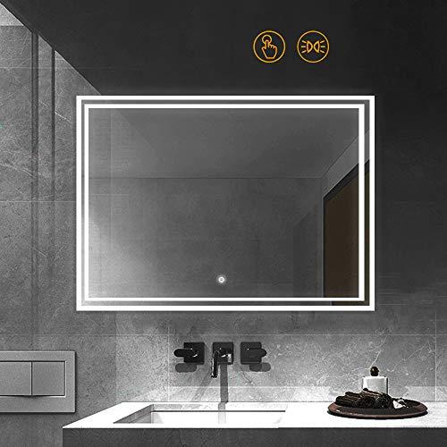 Janboe Wandspiegel Groß Badezimmerspiegel mit Licht Beleuchteter Kosmetikspiegel 1000 x 600 mm mit Touch Schalter