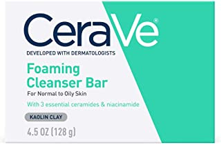 CeraVe Foaming Cleanser Bar   Soap-Free Body and Face Cleanser Bar for Oily Skin   Fragrance Free   4.5 Ounce