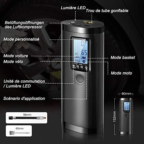 Vastar Compresseur d'air Portable Mini Gonfleur Electrique Digital avec Grand Ecran LCD Lampe LED à Batteire Rechargeable de Lithium-lon 2000mAh 100PSI 20 l/Min