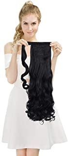 SEIKEA Wrap Around Clip on Ponytail Extension Hairpiece for Women Curly Hair 20 Inch - Black