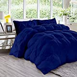 Nehit Comforter All-Season King/California King Sized 94 by 104 inch Royal Blue Solid, 3 Piece Quilted Pinch Pleated Comforter Set 1000 TC Cotton(Comforter Cover/Pillow Insert Not Included)