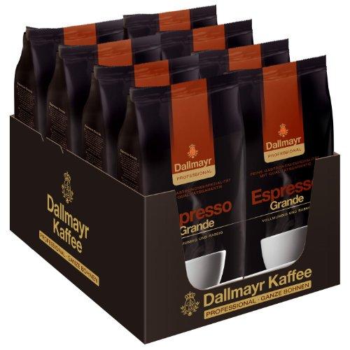 Dallmayr Professional Espresso Grande Bohnenkaffee, Röstkaffee, Kaffee, ganze Bohnen, 8 x 1000 g