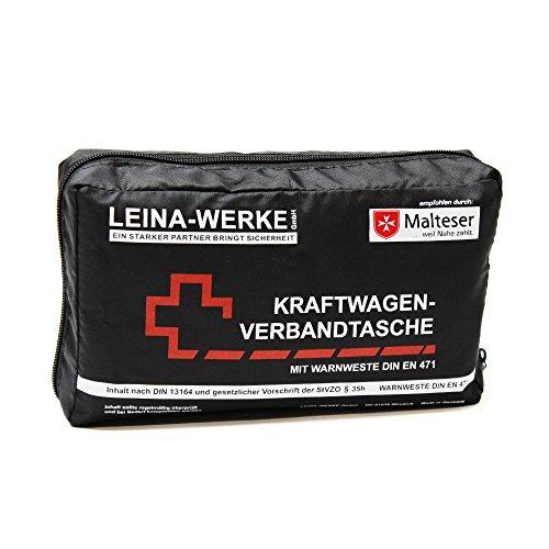 Leina-Werke 11026 KFZ-Verbandtasche Compact mit Warnweste ohne Klett, Schwarz/Weiß/Rot