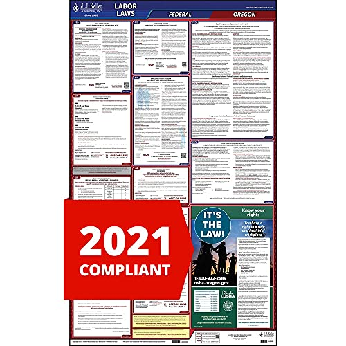 """2021 Oregon Labor Law Poster, All-in-One OSHA Compliant OR State & Federal Laminated Poster (26"""" x 40"""" English) - J. J. Keller & Associates"""